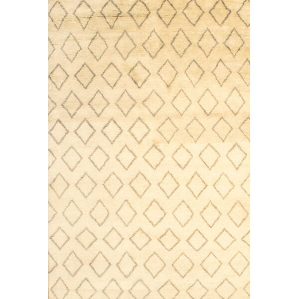 Moroccan Modern Hand-Knotted Wool Cream Area Rug by Pasargad NY