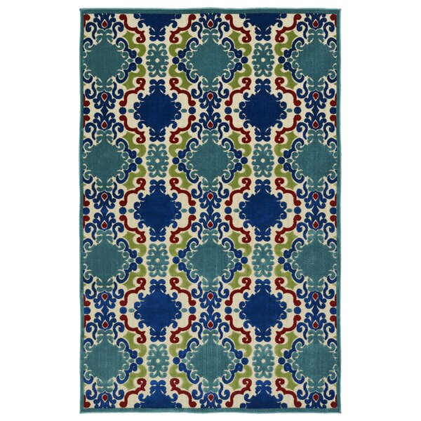 Lewis Machine Woven Turquoise Indoor/Outdoor Area Rug by Winston Porter