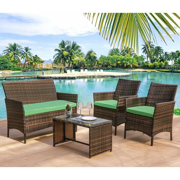 Gerke 4 Piece Rattan Sofa Seating Group with Cushions by Bay Isle Home