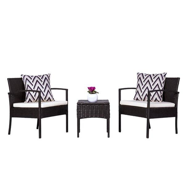 Schimpl 3 Piece Rattan Conversation Set with Cushions by Ebern Designs