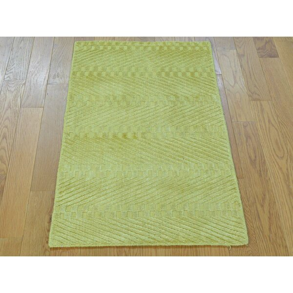 One-of-a-Kind Bean Art Handwoven Yellow Silk Area Rug by Isabelline