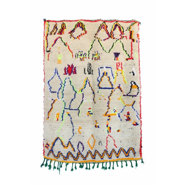 Azilal Vintage Moroccan Hand Knotted Wool Beige/Blue/Orange Area Rug by Indigo&Lavender