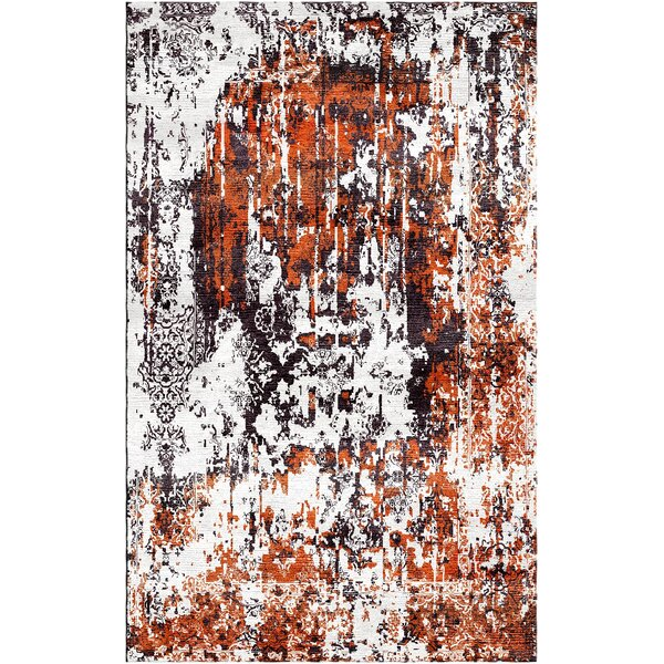 Aliza Handloom Rust/Gray Area Rug by Bungalow Rose