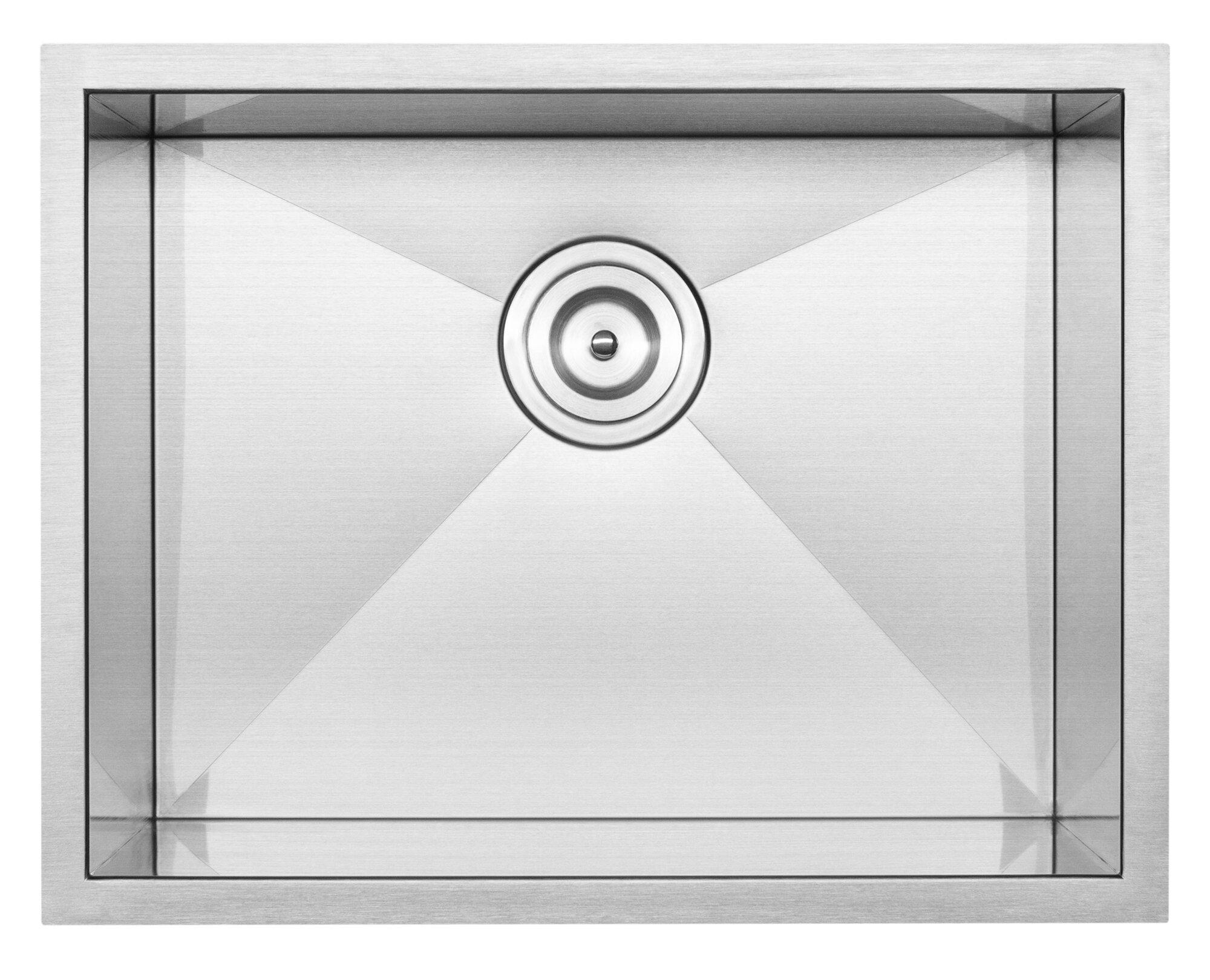 Hand Crafted Rectangular Pacific Granite Stainless Steel 16 Gauge Undermount Sink 50//50 Double Bowl Premium
