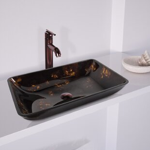 Looking for Fusion Glass Rectangular Vessel Sink Bathroom Sink with Faucet By VIGO