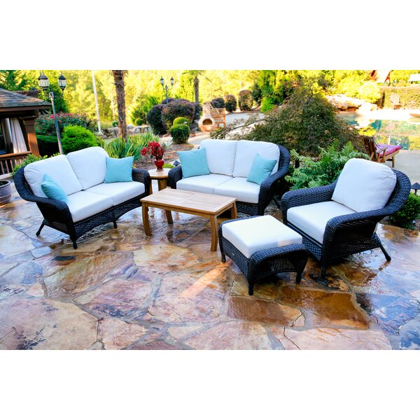 Fleischmann 6 Piece Rattan Sofa Seating Group with Cushions by Darby Home Co