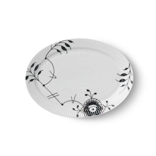 Black Fluted Mega Oval Platter by Royal Copenhagen
