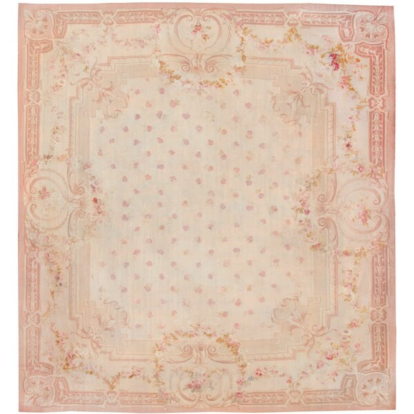 One-of-a-Kind French Hand-Knotted Before 1900 French Ivory 20' x 20'8 Wool Area Rug
