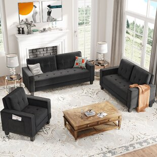 Sofa Set Morden Style Couch Furniture Upholstered Armchair, Loveseat And Three Seat For Home Or Office (1+2+3-Seat) by Latitude Run®