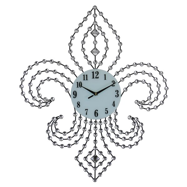 Elegant Bejeweled Fleur De Lis Wall Clock by Fleur De Lis Living