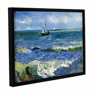 Seascape At Saintes Maries by Vincent Van Gogh Framed Painting Print on Wrapped Canvas by ArtWall