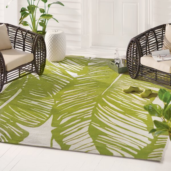 Rhianna Hand-Hooked Green Indoor/Outdoor Area Rug by Beachcrest Home