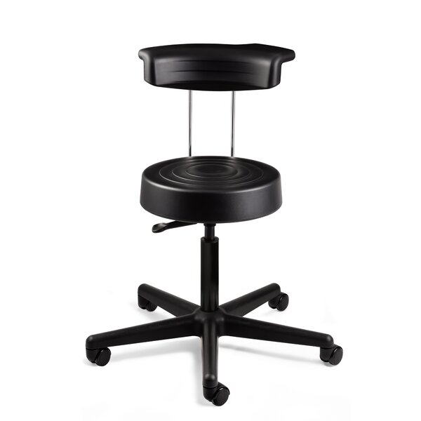 ErgoLux Height Adjustable Stool with Backrest and Dual-Wheel Hard Floor Casters by BEVCO