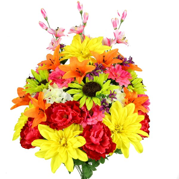 Artificial New Dahlia, Sunflower, Peony, Hydrangea Mixed Flower Bush with Greenery by Admired by Nature