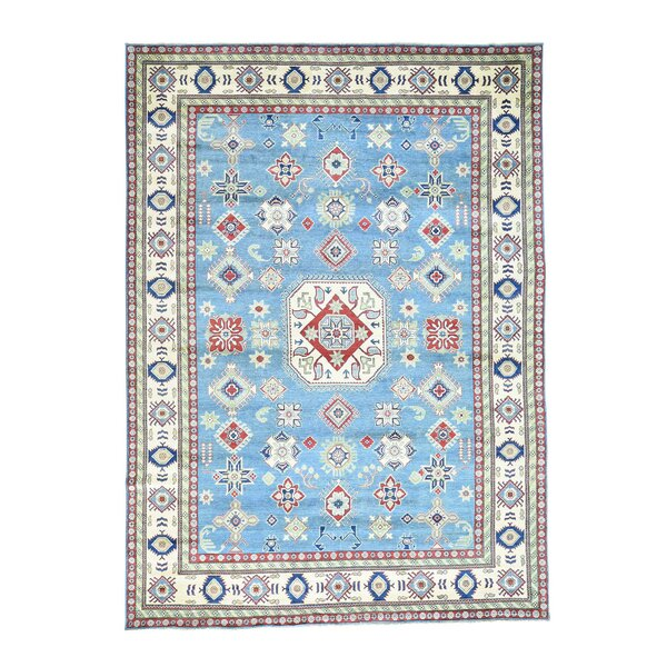 One-of-a-Kind Tillotson Hand-Knotted Sky Blue Area Rug by Millwood Pines