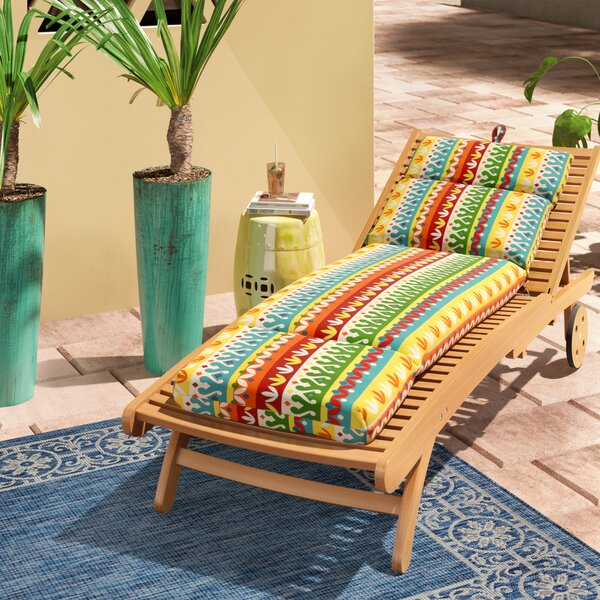 Indoor/Outdoor Spun Polyester Chaise Lounge Cushion by World Menagerie
