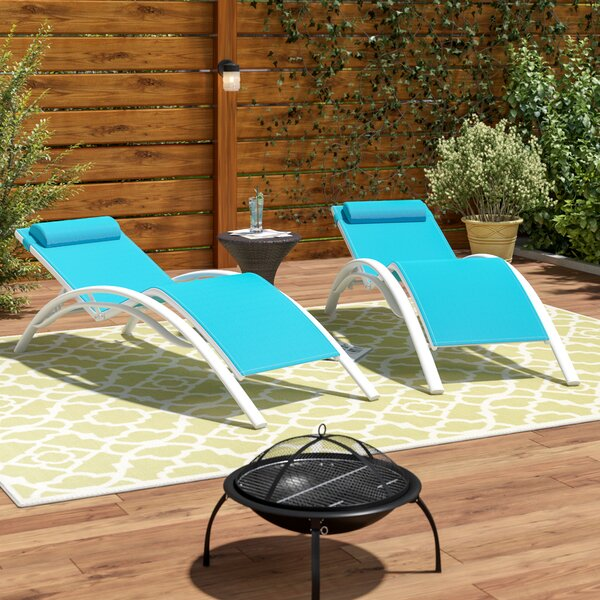 Kelston Mills Elegant Sun Lounger Set with Cushion (Set of 2) by Charlton Home