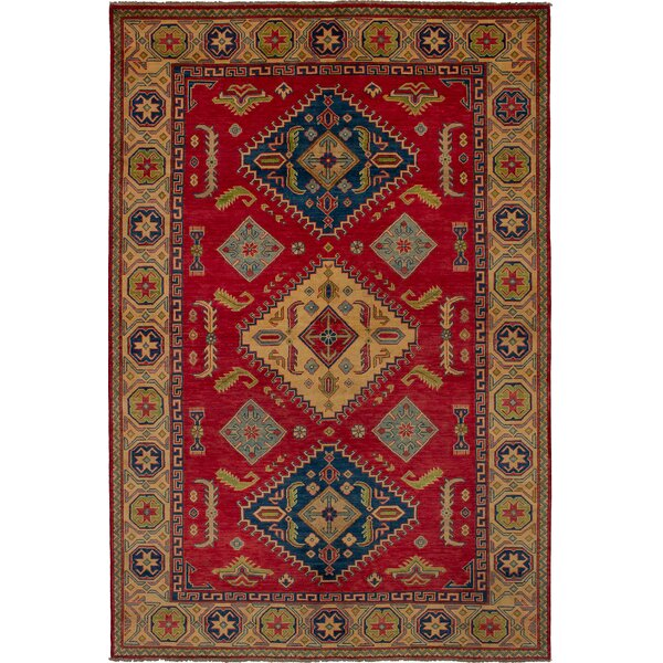 One-of-a-Kind Aimee Hand-Knotted Wool Red/Blue Area Rug by Isabelline