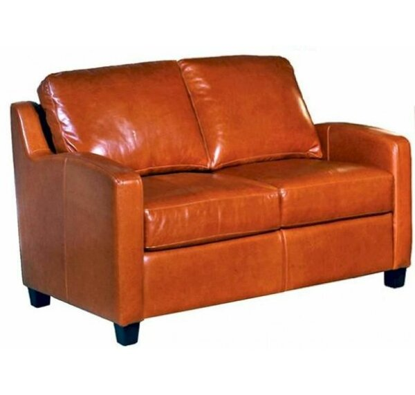 Modern Beautiful Chelsea Deco Loveseat by Omnia Leather by Omnia Leather