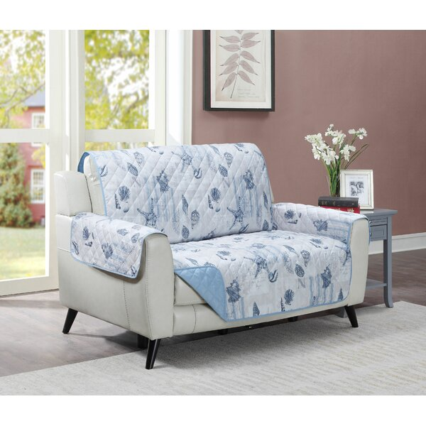 Ocean Postcards Box Cushion Loveseat Slipcover By Highland Dunes