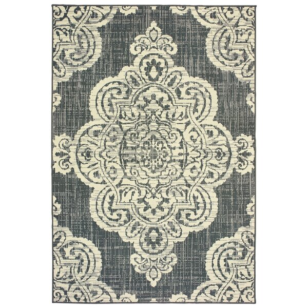 Salerno Over-scale Medallion Ivory Indoor/Outdoor Area Rug by Charlton Home