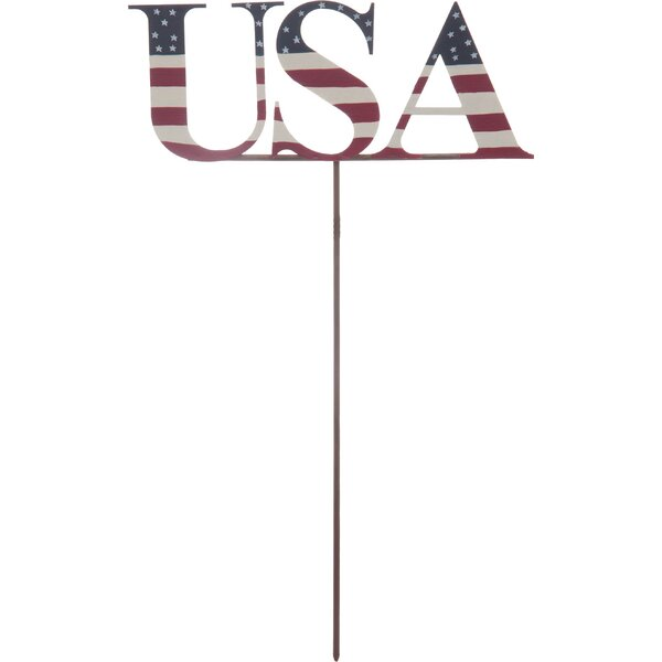 Froese Metal USA Garden Stake by August Grove