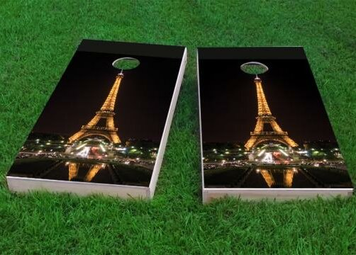 Eiffel Tower at Night in Paris France Cornhole Game (Set of 2) by Custom Cornhole Boards