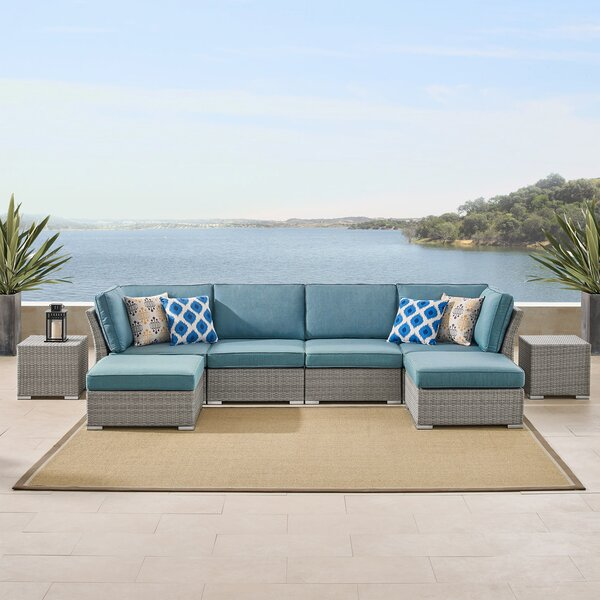 Kenya 8 Piece Rattan Sectional Seating Group With Cushions by Rosecliff Heights