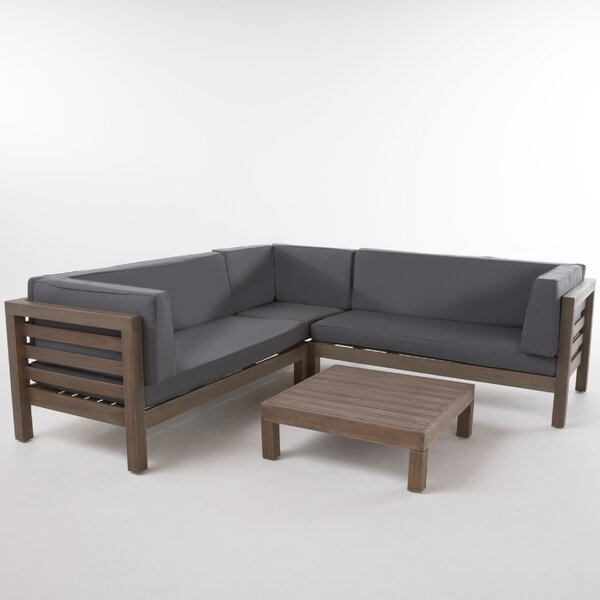 Birdsboro 4 Piece Sectional Set with Cushions by Gracie Oaks