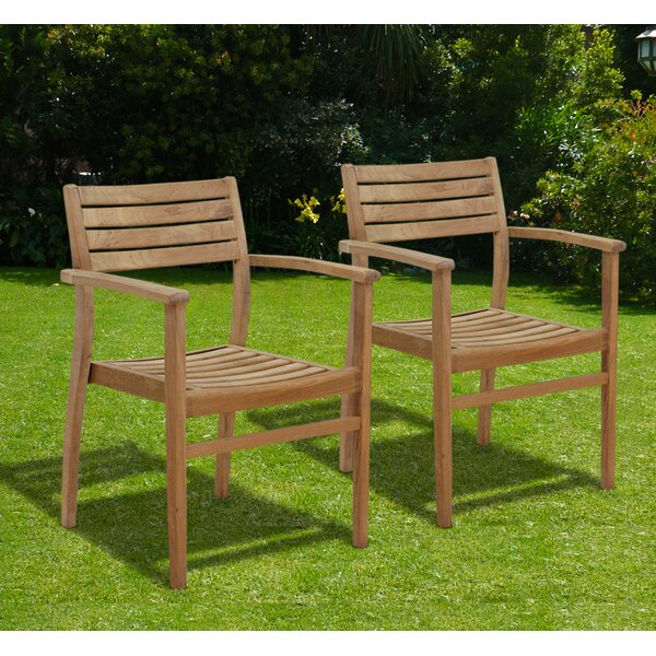 Canberra Stacking Teak Patio Dining Chair (Set of 2) by International Home Miami