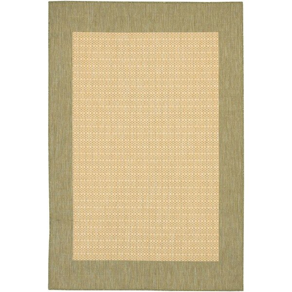 Celia Checkered Field Natural Indoor/Outdoor Area Rug by Beachcrest Home