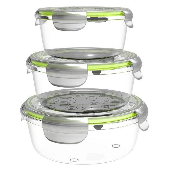 Billips Round Glass 3 Container Food Storage Set by Rebrilliant