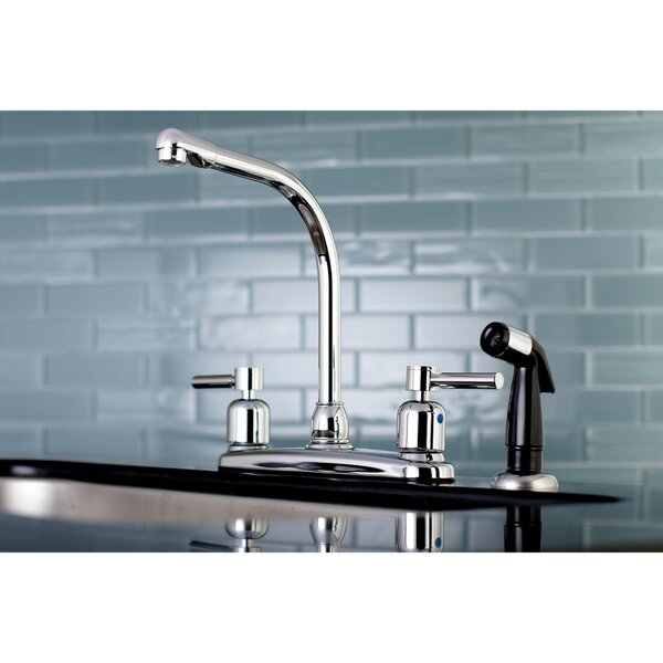 Centurion Hot & Cold Water Dispenser Double Handle Kitchen Faucet with Side Spray by Kingston Brass