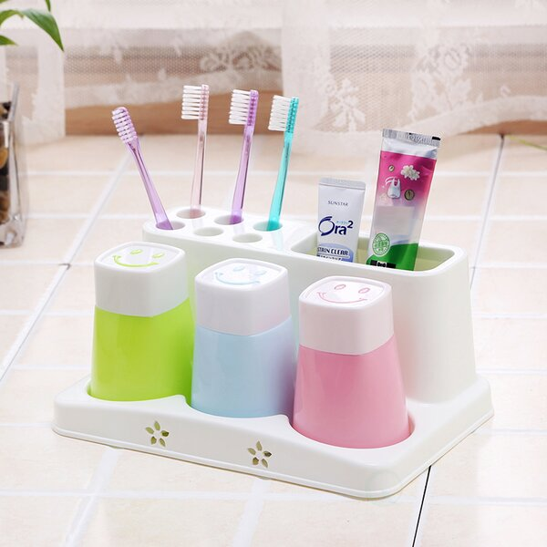 Family Toothbrush Holder and Toothpaste with 3 Cups by Rebrilliant