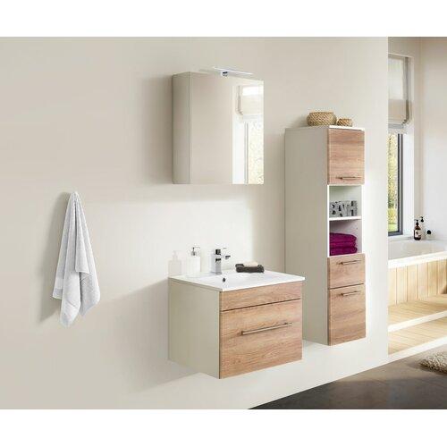 Viva 3-Piece Bathroom Furniture Set Belfry Bathroom Furniture Finish: Light Oak/White
