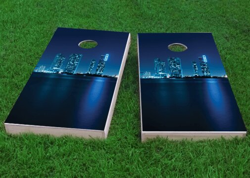 Miami Skyline Cornhole Game (Set of 2) by Custom Cornhole Boards
