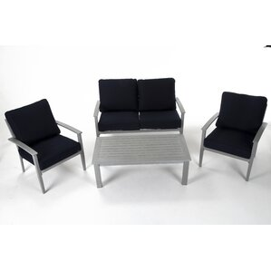 Yohan Brushed Aluminum Patio Furniture 4 Piece Deep Seating Group With  Cushion