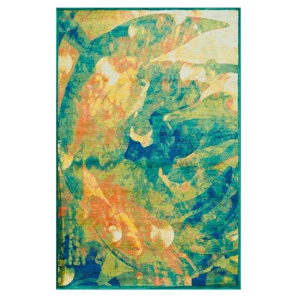 Thoi Tropical Island Blue/Orange Area Rug by Ebern Designs