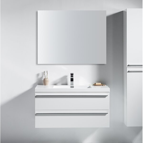 Bolivia 41 Wall-Mounted Single Bathroom Vanity Set with Mirror by Foundry Select