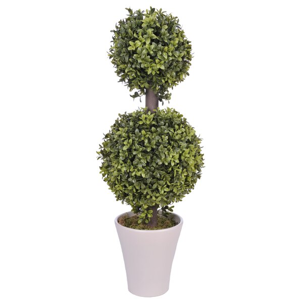 Artificial Double Ball Topiary in Planter by House of Silk Flowers Inc.