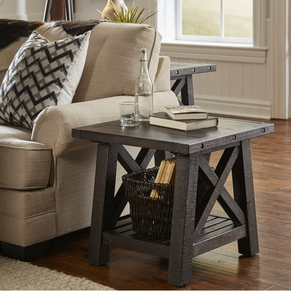 Outlaw Pine Wood End Table by Williston Forge