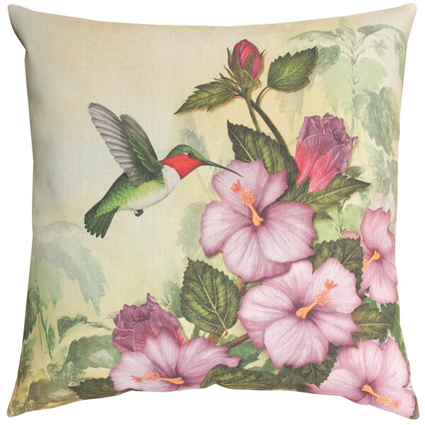 Happy Hummingbird Knife Edge Throw Pillow by Manual Woodworkers & Weavers