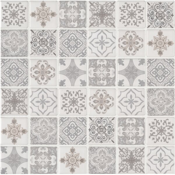 Anya Glazed Mesh Mounted 2 x 2 Ceramic Mosaic Tile in White by MSI