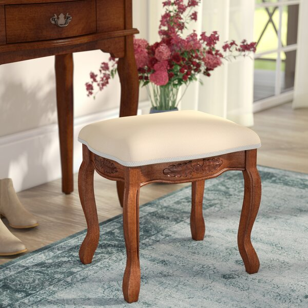 Snowberry Hand Carved Cushioned Top Vanity Stool by Three Posts