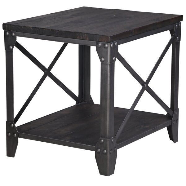 Ensley Industrial End Table by 17 Stories