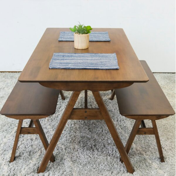 Abagail 3 Piece Solid Wood Dining Set by Union Rustic