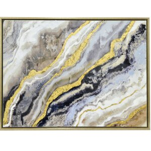 'Gold and Black Abstract Waves' Framed Painting Print by Three Hands Co.