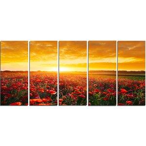 Poppy Field Under Ablaze Sunset' Photographic Print Multi-Piece Image on Canvas by Design Art