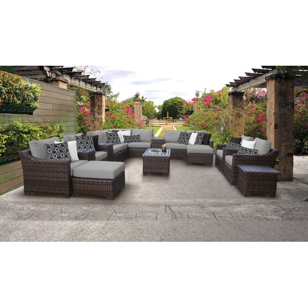 kathy ireland Homes & Gardens River Brook Sectional Seating Group with Cushions by TK Classics