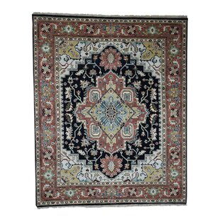 One-of-a-Kind Baily Serapi Tribal Oriental Hand-Knotted Black Area Rug Isabelline